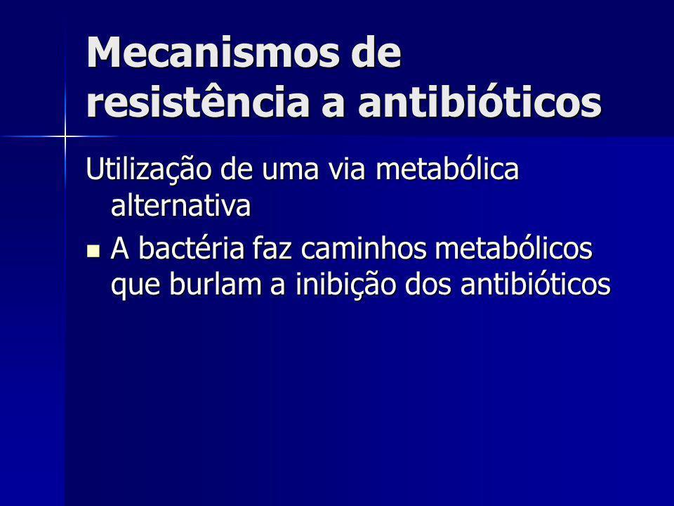 Mecanismos de resistência a antibióticos Utilização de uma via metabólica alternativa A bactéria faz caminhos metabólicos que burlam a inibição dos an