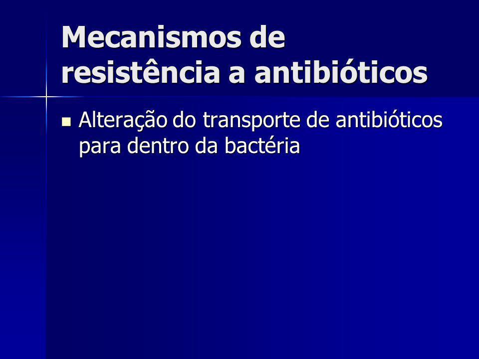 Mecanismos de resistência a antibióticos Alteração do transporte de antibióticos para dentro da bactéria Alteração do transporte de antibióticos para