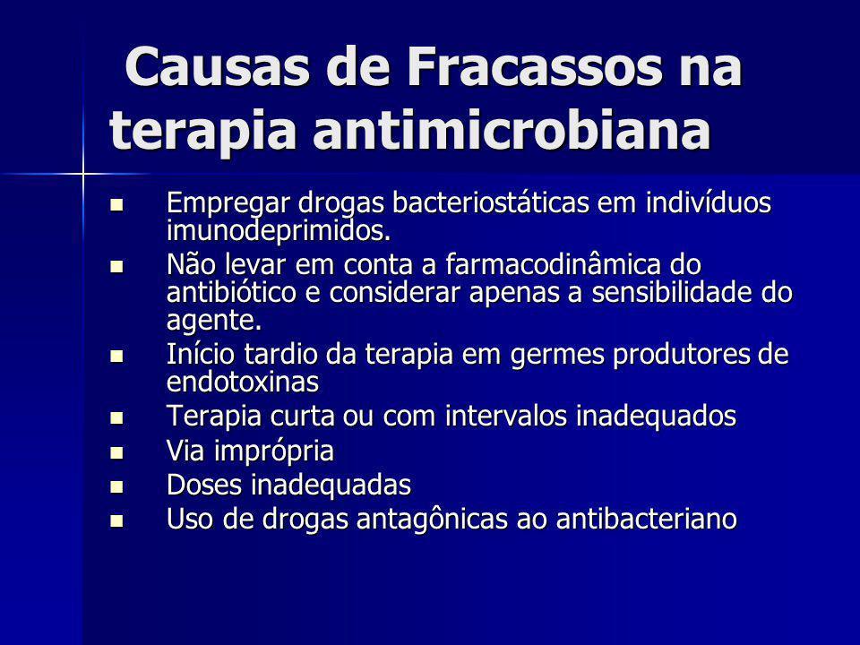 Causas de Fracassos na terapia antimicrobiana Causas de Fracassos na terapia antimicrobiana Empregar drogas bacteriostáticas em indivíduos imunodeprim