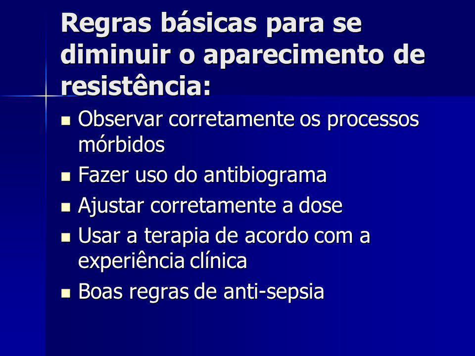Regras básicas para se diminuir o aparecimento de resistência: Observar corretamente os processos mórbidos Observar corretamente os processos mórbidos