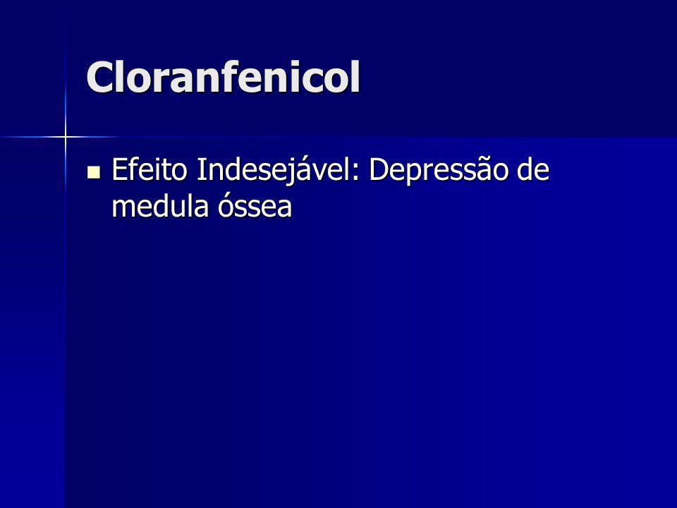 Cloranfenicol Efeito Indesejável: Depressão de medula óssea Efeito Indesejável: Depressão de medula óssea