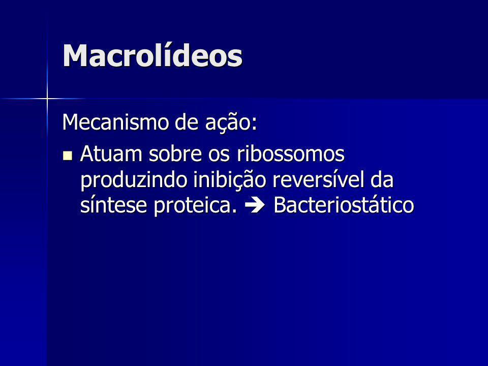 Macrolídeos Mecanismo de ação: Atuam sobre os ribossomos produzindo inibição reversível da síntese proteica. Bacteriostático Atuam sobre os ribossomos