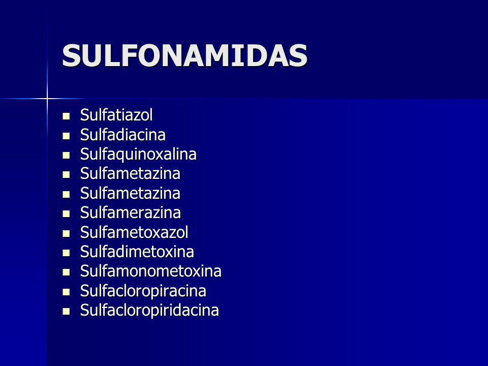 SULFONAMIDAS Sulfatiazol Sulfatiazol Sulfadiacina Sulfadiacina Sulfaquinoxalina Sulfaquinoxalina Sulfametazina Sulfametazina Sulfamerazina Sulfamerazi