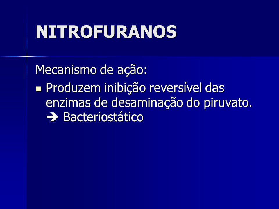 NITROFURANOS Mecanismo de ação: Produzem inibição reversível das enzimas de desaminação do piruvato. Bacteriostático Produzem inibição reversível das