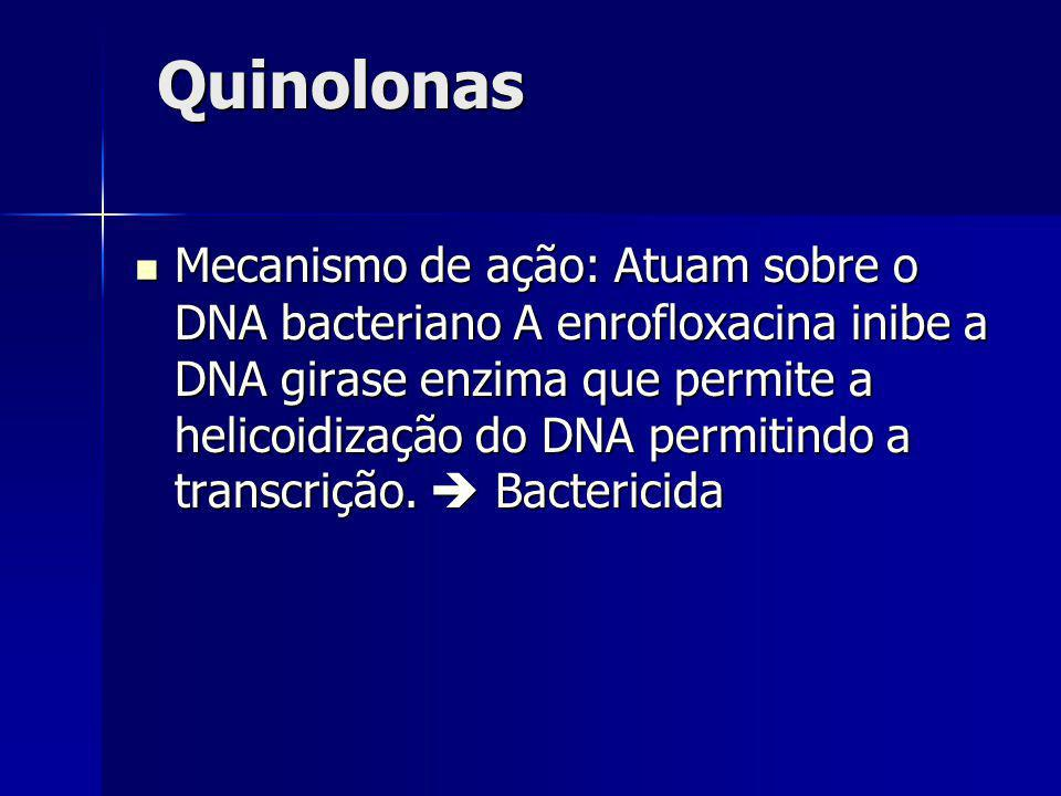 Quinolonas Mecanismo de ação: Atuam sobre o DNA bacteriano A enrofloxacina inibe a DNA girase enzima que permite a helicoidização do DNA permitindo a