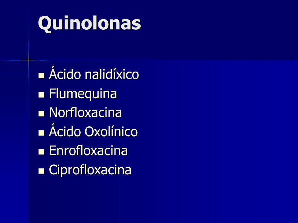 Quinolonas Ácido nalidíxico Ácido nalidíxico Flumequina Flumequina Norfloxacina Norfloxacina Ácido Oxolínico Ácido Oxolínico Enrofloxacina Enrofloxaci