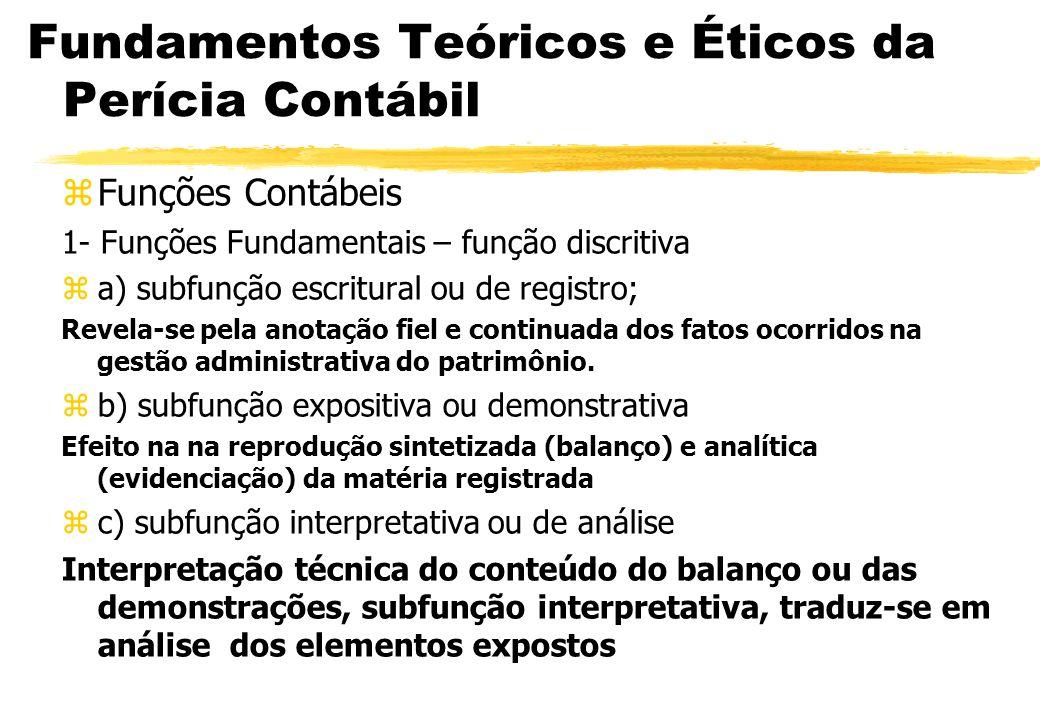 Fundamentos Teóricos e Éticos da Perícia Contábil Funções Contábeis 1- Funções Fundamentais – função discritiva a) subfunção escritural ou de registro