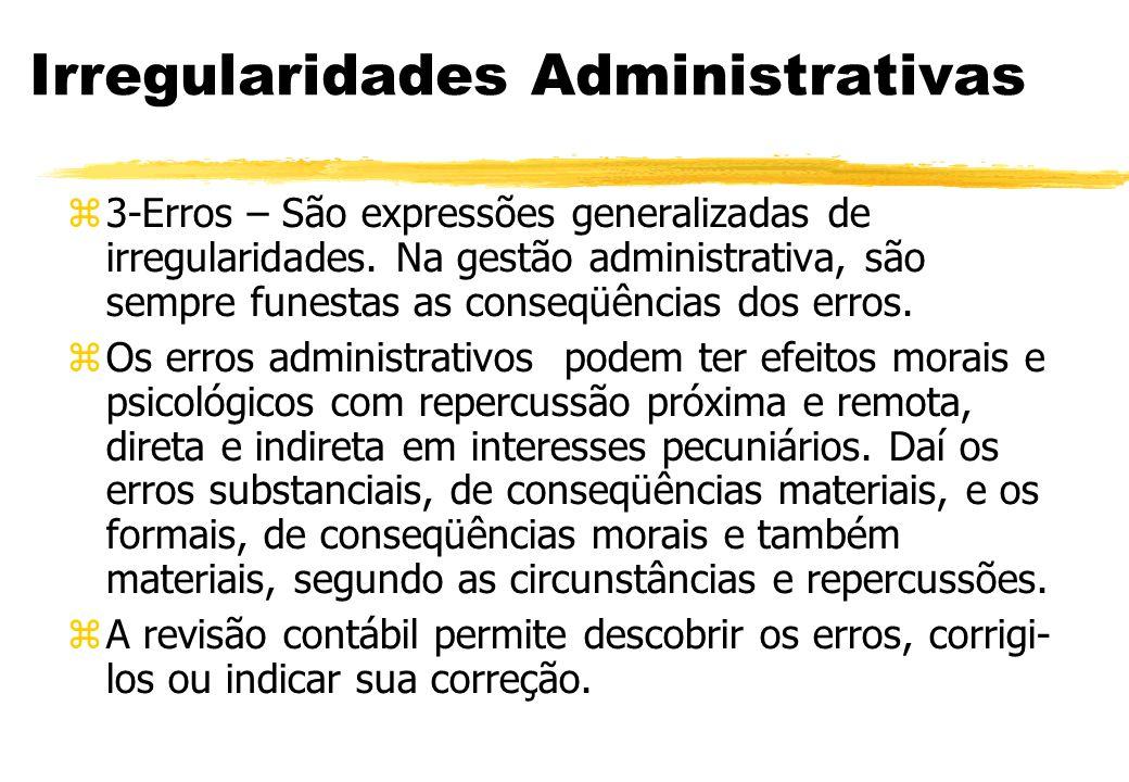 Irregularidades Administrativas 3-Erros – São expressões generalizadas de irregularidades. Na gestão administrativa, são sempre funestas as conseqüênc