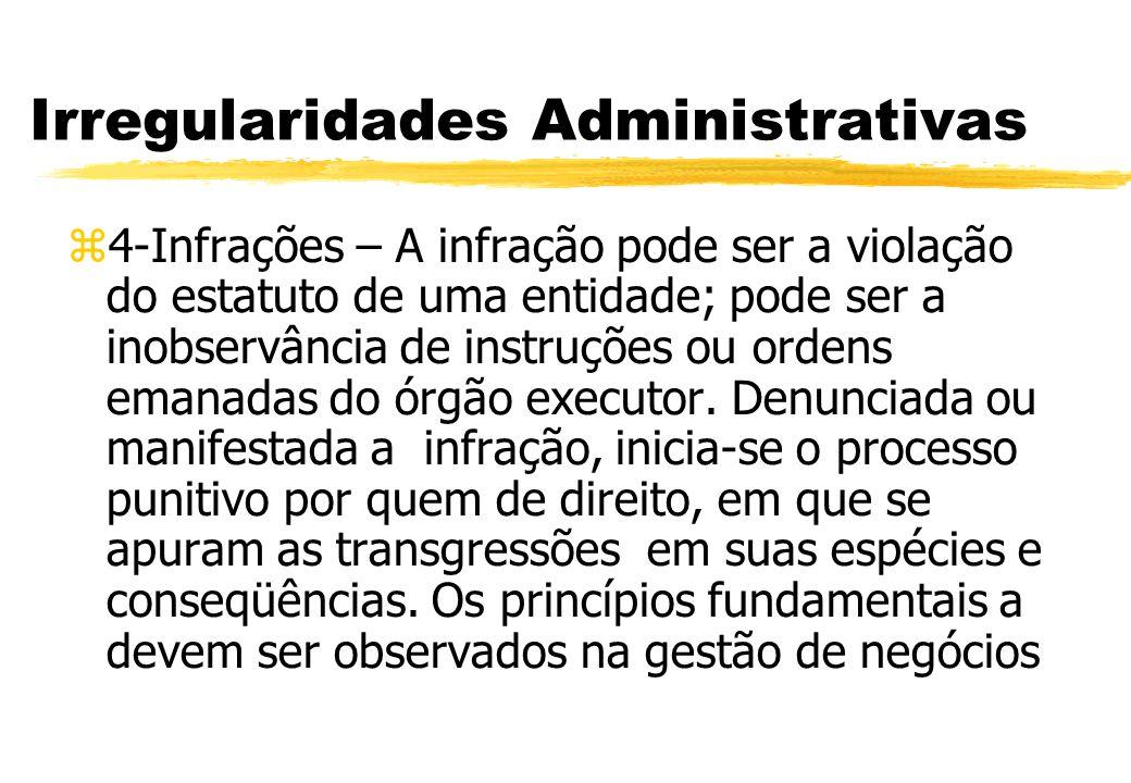 Irregularidades Administrativas 4-Infrações – A infração pode ser a violação do estatuto de uma entidade; pode ser a inobservância de instruções ou or