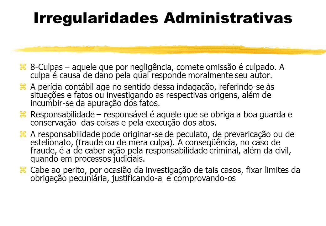 Irregularidades Administrativas 8-Culpas – aquele que por negligência, comete omissão é culpado. A culpa é causa de dano pela qual responde moralmente