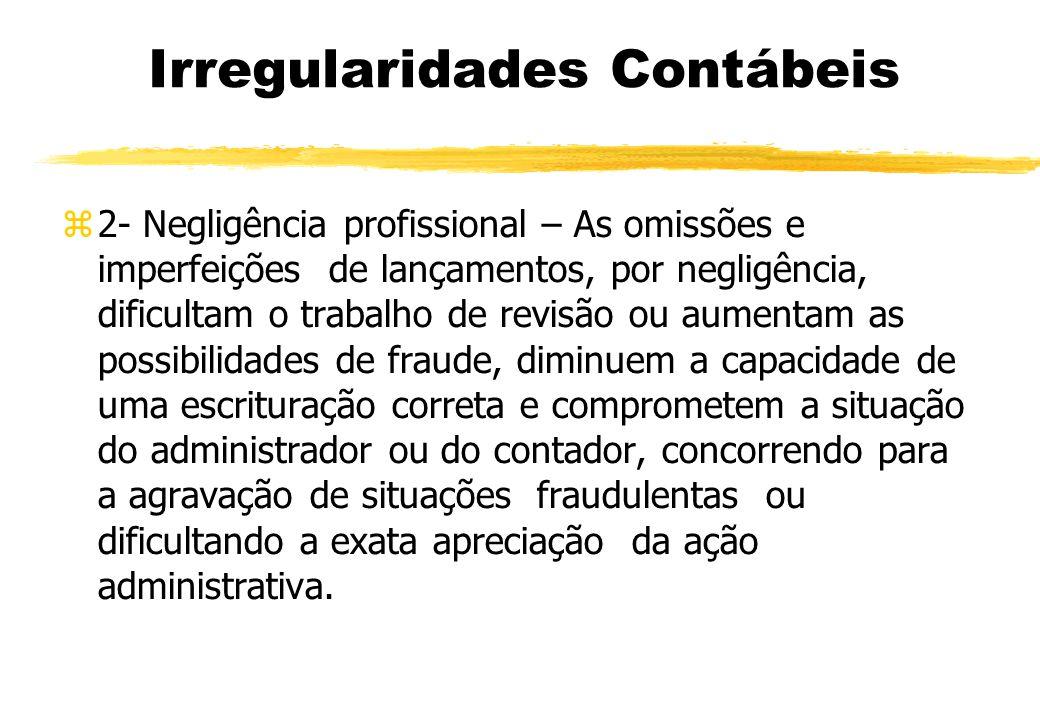 Irregularidades Contábeis 2- Negligência profissional – As omissões e imperfeições de lançamentos, por negligência, dificultam o trabalho de revisão o