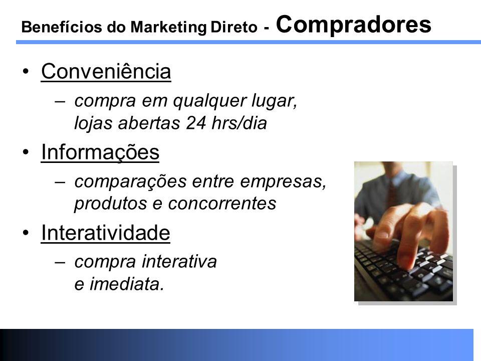 Conveniência –compra em qualquer lugar, lojas abertas 24 hrs/dia Informações –comparações entre empresas, produtos e concorrentes Interatividade –comp