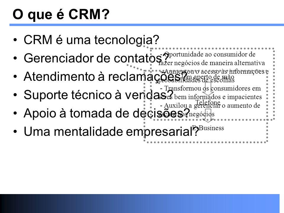 O que é CRM? CRM é uma tecnologia? Gerenciador de contatos? Atendimento à reclamações? Suporte técnico à vendas? Apoio à tomada de decisões? Uma menta