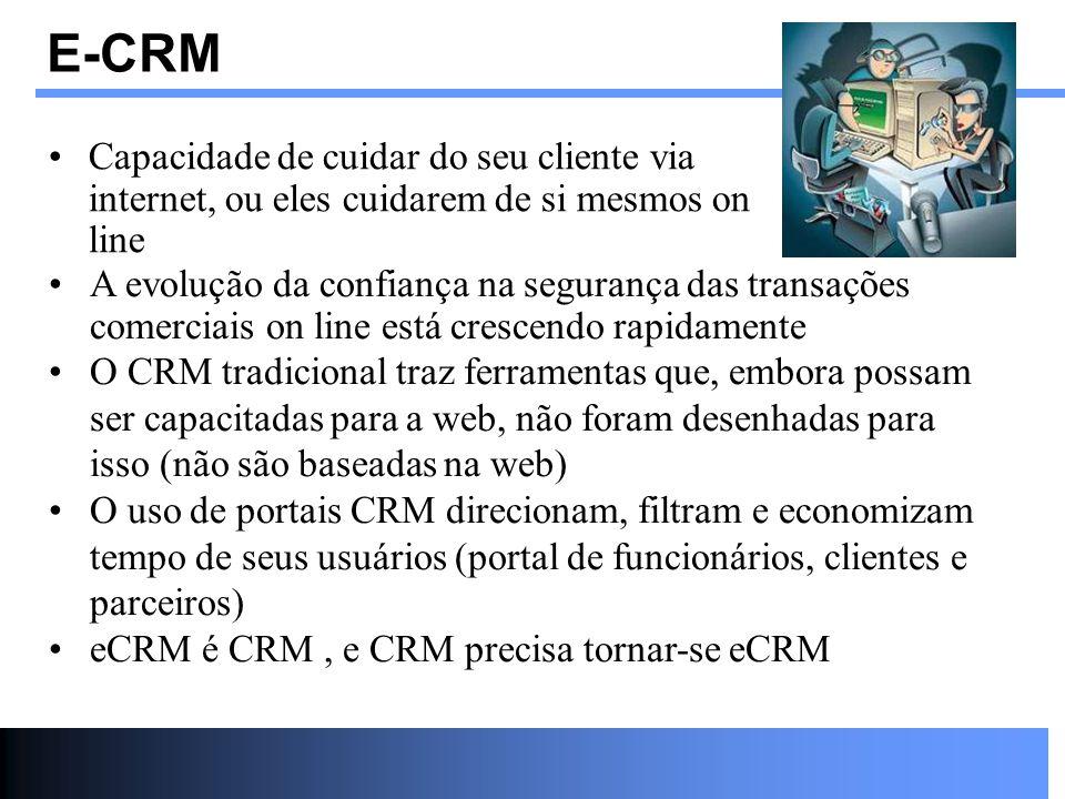 E-CRM Capacidade de cuidar do seu cliente via internet, ou eles cuidarem de si mesmos on line A evolução da confiança na segurança das transações come