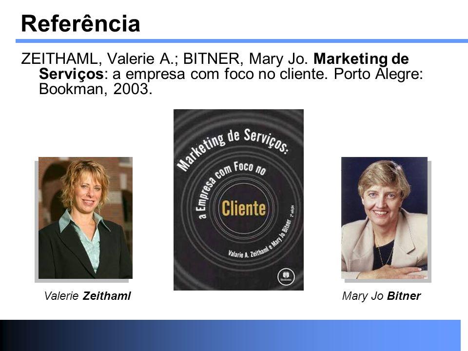 Referência ZEITHAML, Valerie A.; BITNER, Mary Jo. Marketing de Serviços: a empresa com foco no cliente. Porto Alegre: Bookman, 2003. Valerie Zeithaml
