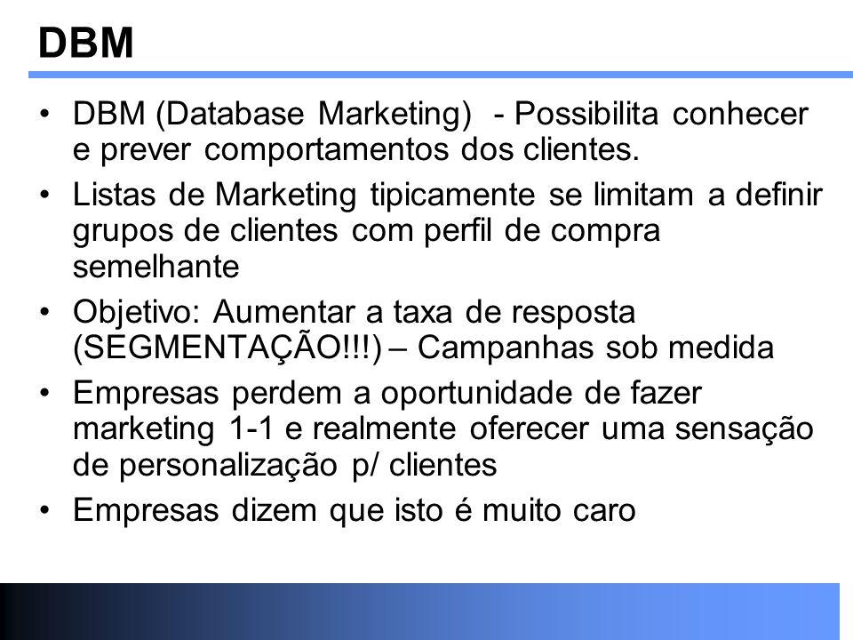 DBM (Database Marketing) - Possibilita conhecer e prever comportamentos dos clientes. Listas de Marketing tipicamente se limitam a definir grupos de c