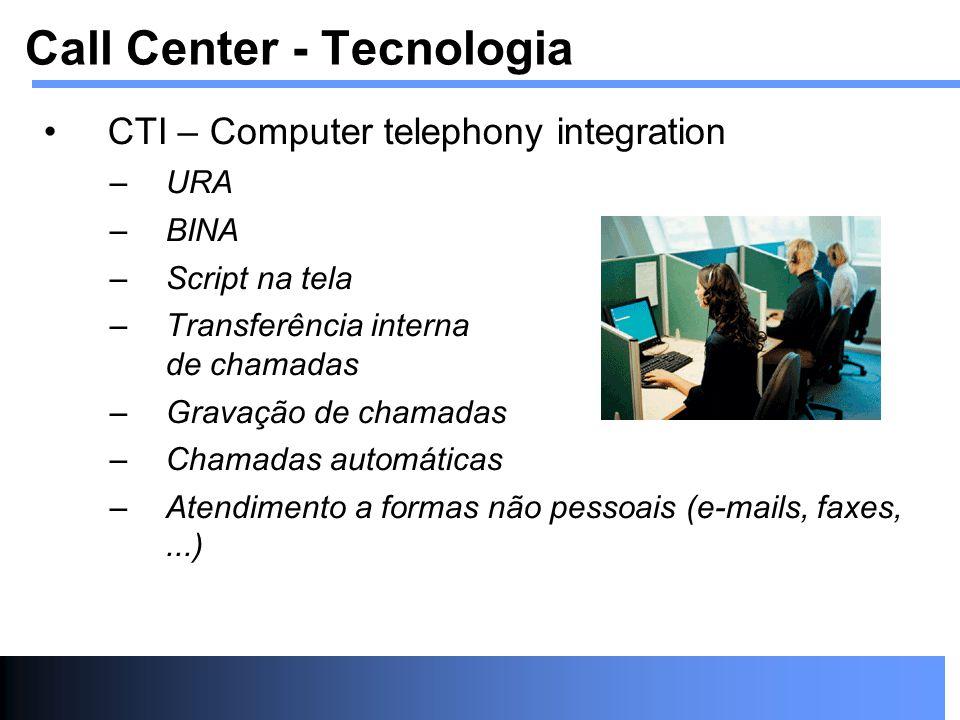 CTI – Computer telephony integration –URA –BINA –Script na tela –Transferência interna de chamadas –Gravação de chamadas –Chamadas automáticas –Atendi