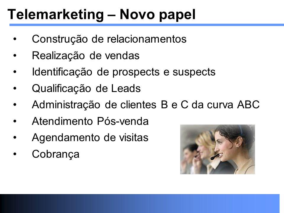 Construção de relacionamentos Realização de vendas Identificação de prospects e suspects Qualificação de Leads Administração de clientes B e C da curv