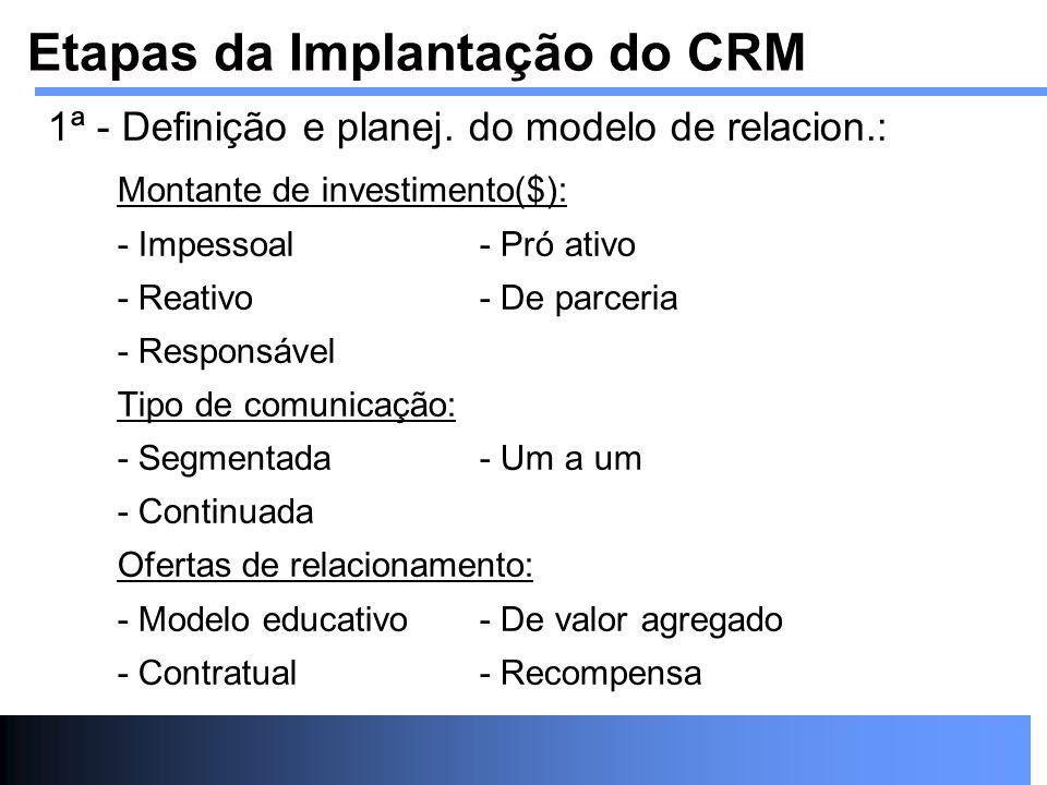 1ª - Definição e planej. do modelo de relacion.: Montante de investimento($): - Impessoal- Pró ativo - Reativo- De parceria - Responsável Tipo de comu