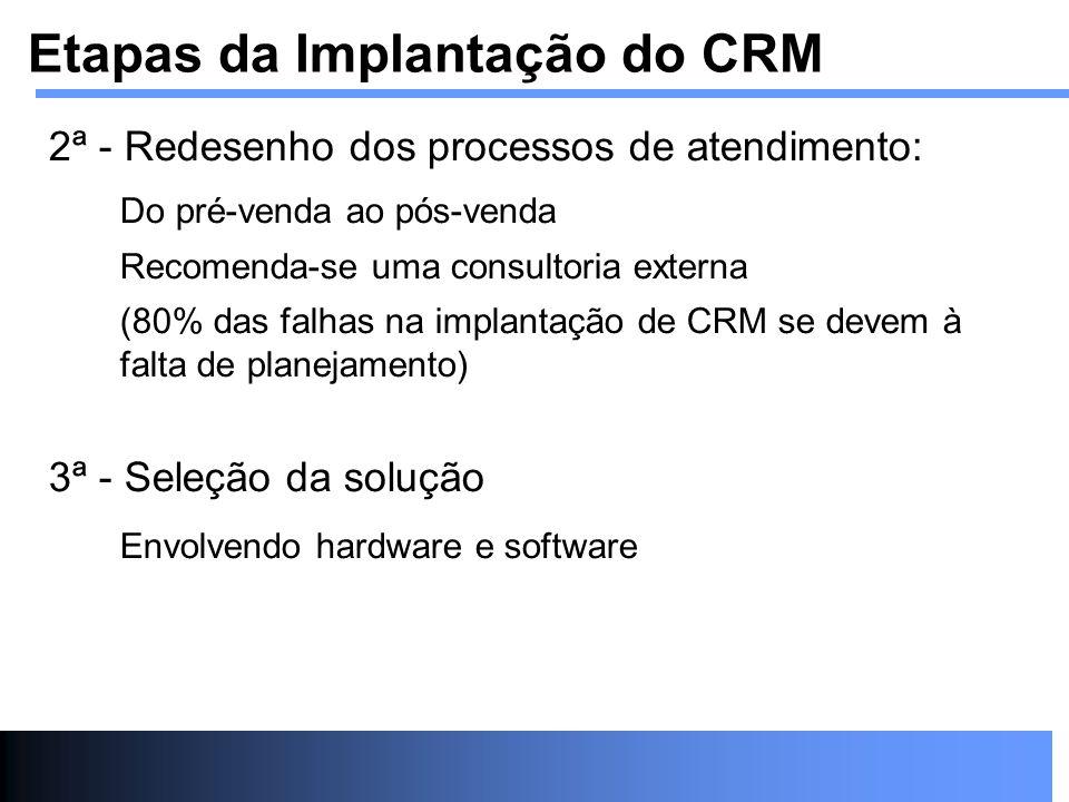 2ª - Redesenho dos processos de atendimento: Do pré-venda ao pós-venda Recomenda-se uma consultoria externa (80% das falhas na implantação de CRM se d