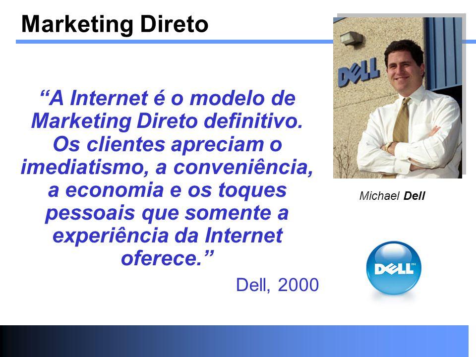 Marketing Direto A Internet é o modelo de Marketing Direto definitivo. Os clientes apreciam o imediatismo, a conveniência, a economia e os toques pess