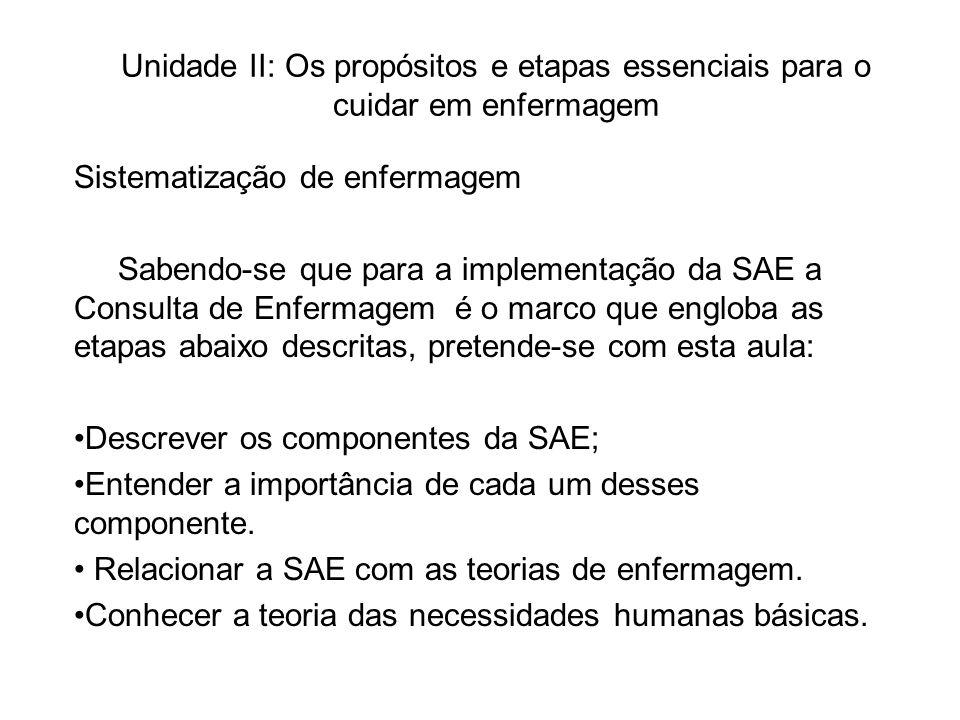 Unidade II: Os propósitos e etapas essenciais para o cuidar em enfermagem Sistematização de enfermagem Sabendo-se que para a implementação da SAE a Consulta de Enfermagem é o marco que engloba as etapas abaixo descritas, pretende-se com esta aula: Descrever os componentes da SAE; Entender a importância de cada um desses componente.