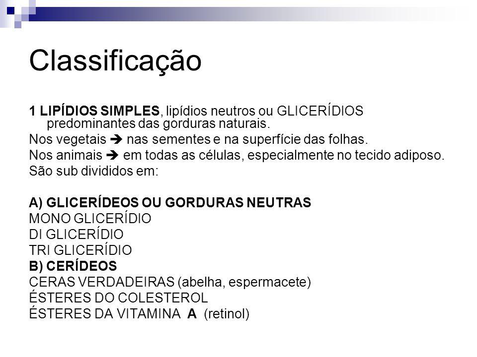 Classificação 1 LIPÍDIOS SIMPLES, lipídios neutros ou GLICERÍDIOS predominantes das gorduras naturais. Nos vegetais nas sementes e na superfície das f