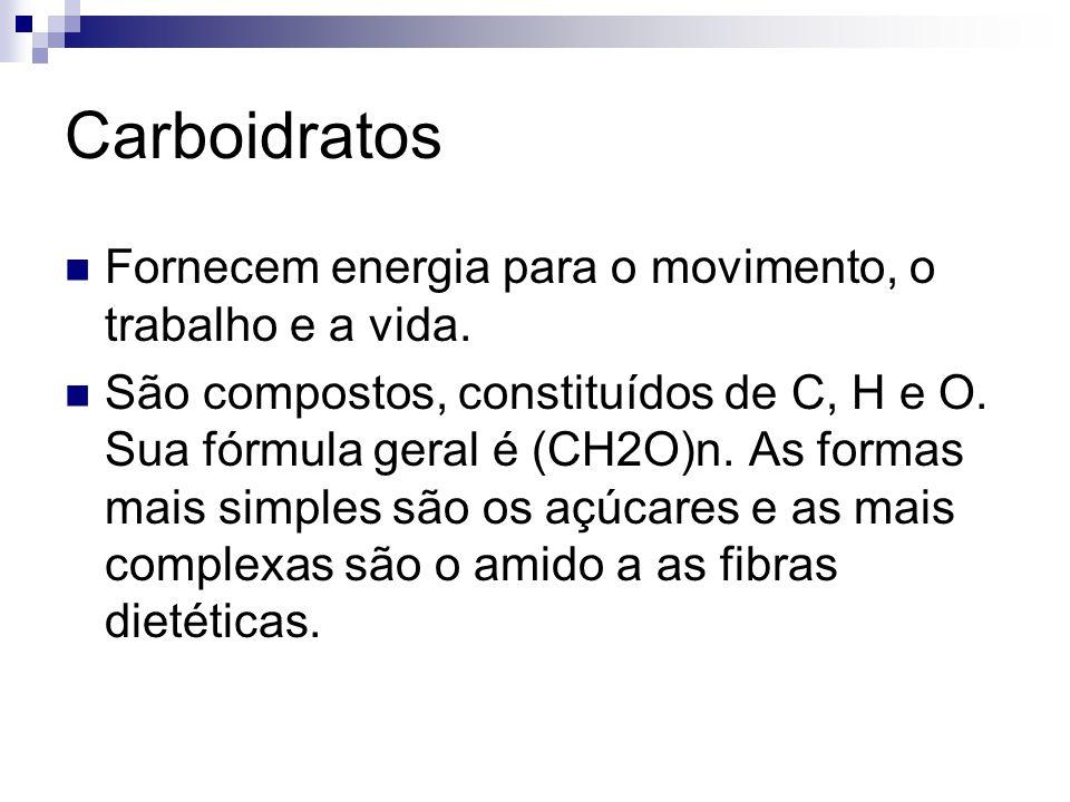 Carboidratos Fornecem energia para o movimento, o trabalho e a vida. São compostos, constituídos de C, H e O. Sua fórmula geral é (CH2O)n. As formas m