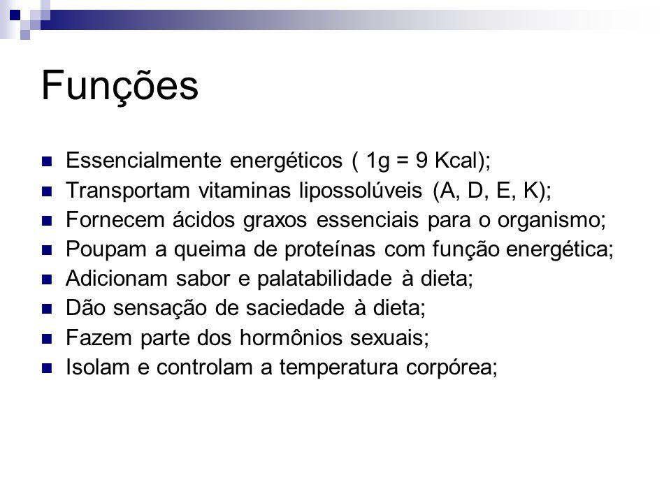 Funções Essencialmente energéticos ( 1g = 9 Kcal); Transportam vitaminas lipossolúveis (A, D, E, K); Fornecem ácidos graxos essenciais para o organism