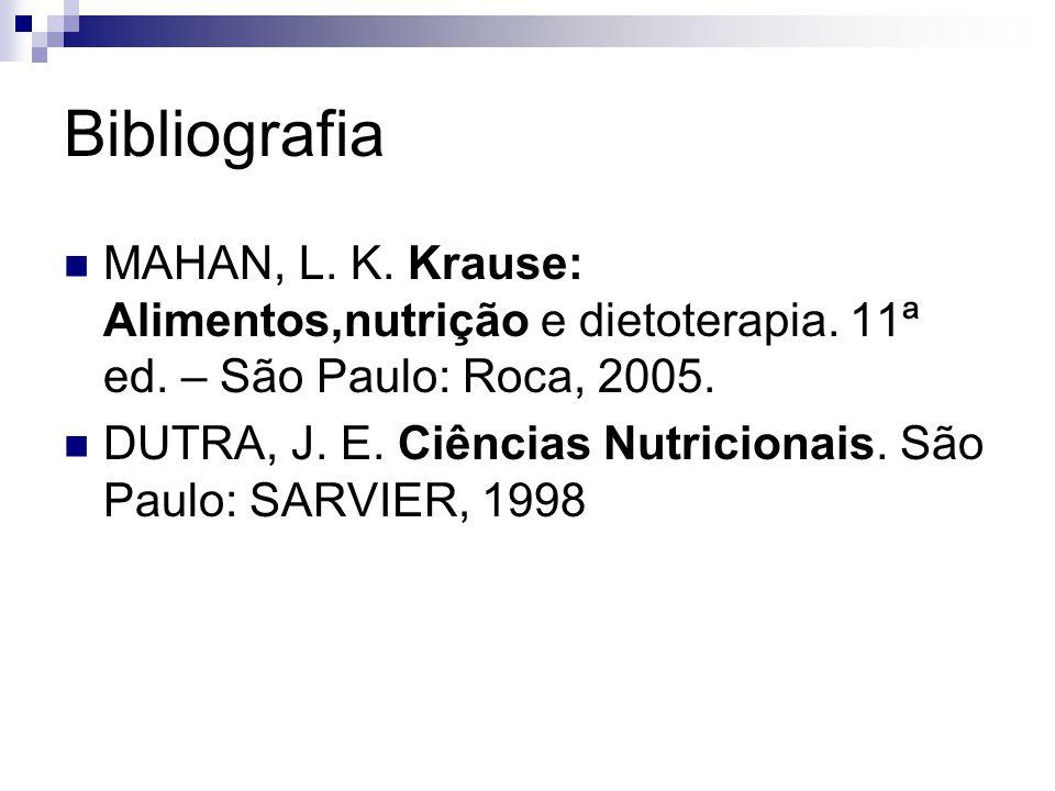 Bibliografia MAHAN, L. K. Krause: Alimentos,nutrição e dietoterapia. 11ª ed. – São Paulo: Roca, 2005. DUTRA, J. E. Ciências Nutricionais. São Paulo: S
