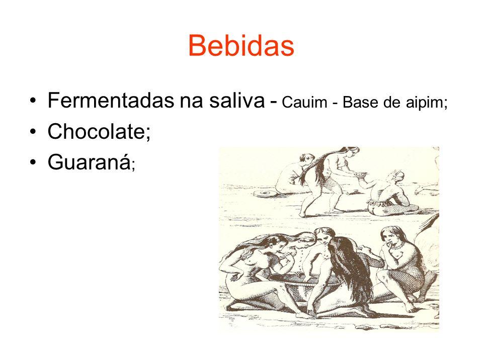 Bebidas Fermentadas na saliva - Cauim - Base de aipim; Chocolate; Guaraná ;