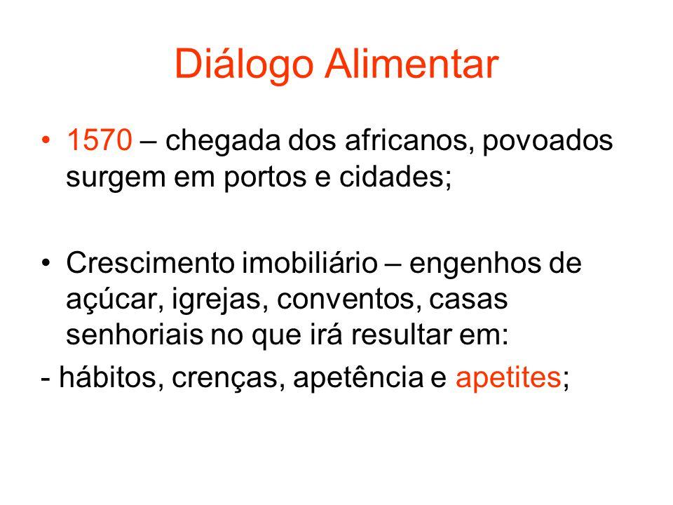 Diálogo Alimentar 1570 – chegada dos africanos, povoados surgem em portos e cidades; Crescimento imobiliário – engenhos de açúcar, igrejas, conventos,