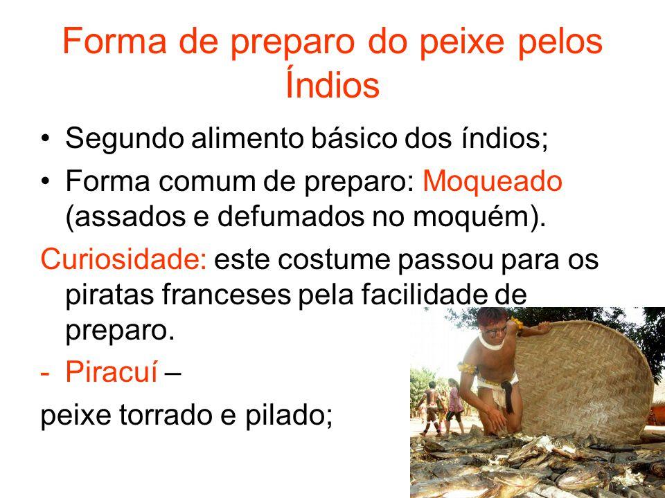 Carne de Caça Alimento secundário; Carne de caça mais comum: porco-do- mato, caititus; Carne pilada com farinha de mandioca = paçocas.