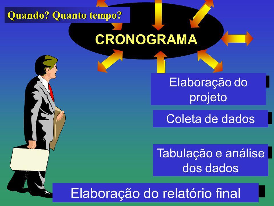 CRONOGRAMA Quando? Quanto tempo? Elaboração do projeto Elaboração do relatório final Tabulação e análise dos dados Coleta de dados