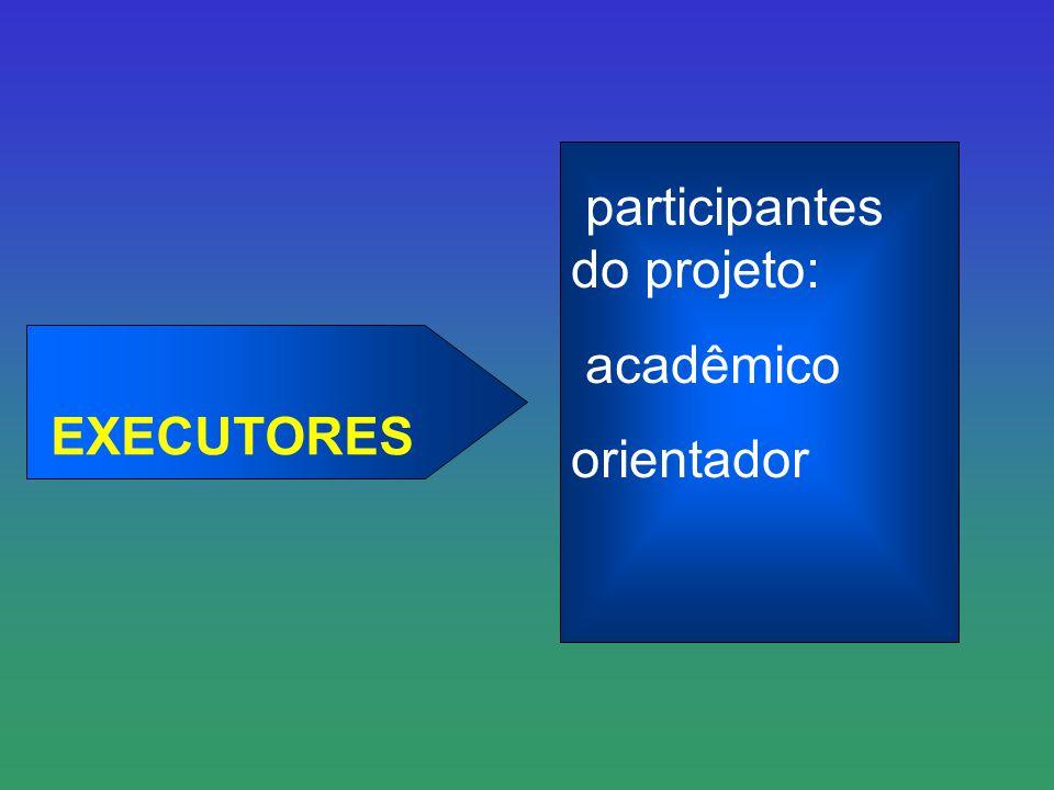 EXECUTORES participantes do projeto: acadêmico orientador