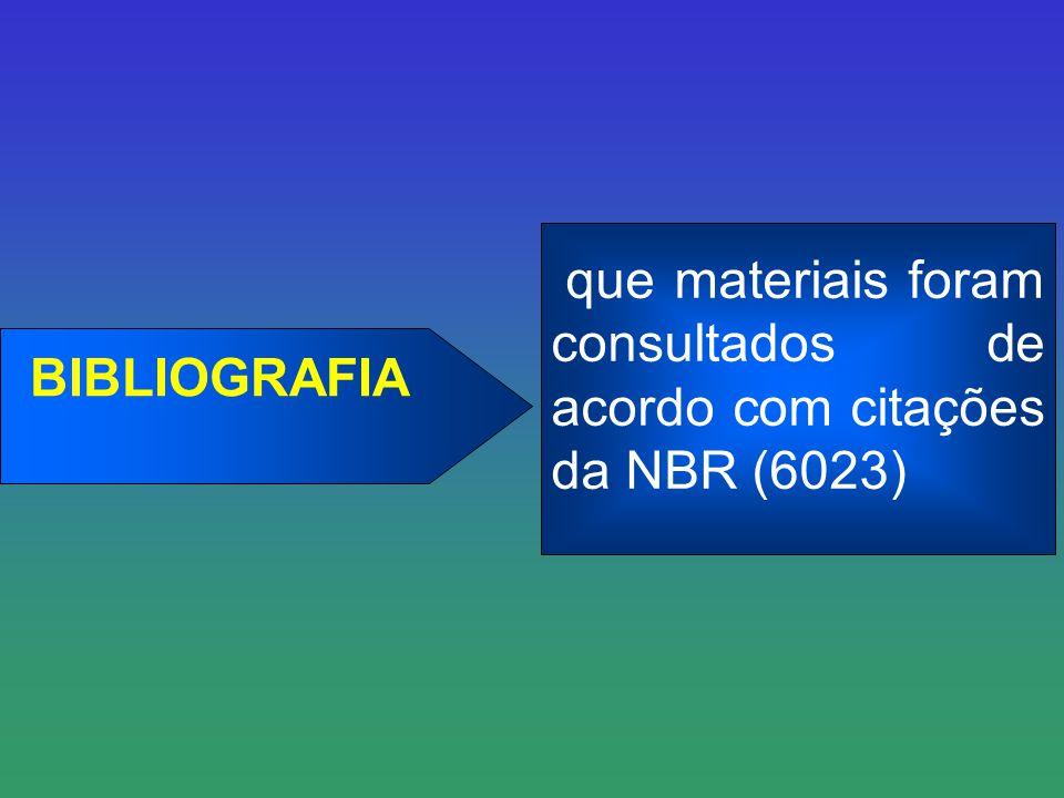 BIBLIOGRAFIA que materiais foram consultados de acordo com citações da NBR (6023)