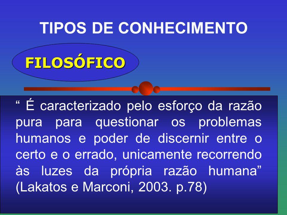 TIPOS DE CONHECIMENTO CIENTÍFICO É real (factual) porque lida com ocorrências ou fatos, isto é, com toda forma de existência que se manifesta de algum modo (Trujillo apud Lakatos e Marconi,2003, p.80)