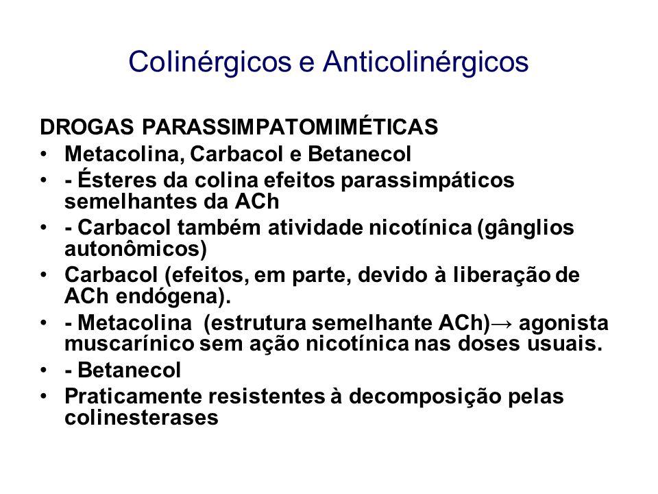 CoIinérgicos e Anticolinérgicos DROGAS PARASSIMPATOMIMÉTICAS Metacolina, Carbacol e Betanecol - Ésteres da colina efeitos parassimpáticos semelhantes