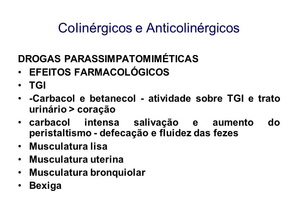 CoIinérgicos e Anticolinérgicos DROGAS PARASSIMPATOMIMÉTICAS EFEITOS FARMACOLÓGICOS TGI -Carbacol e betanecol - atividade sobre TGI e trato urinário >