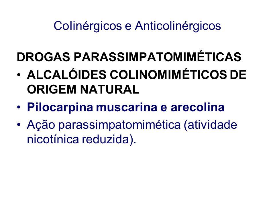 CoIinérgicos e Anticolinérgicos DROGAS PARASSIMPATOMIMÉTICAS ALCALÓIDES COLINOMIMÉTICOS DE ORIGEM NATURAL Pilocarpina muscarina e arecolina Ação paras