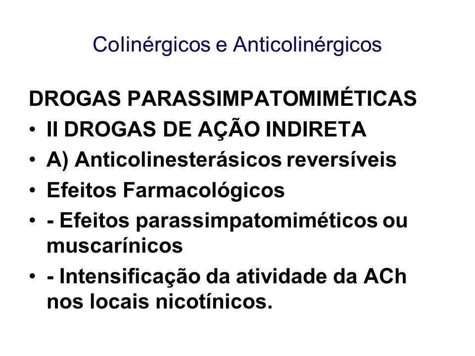 CoIinérgicos e Anticolinérgicos DROGAS PARASSIMPATOMIMÉTICAS II DROGAS DE AÇÃO INDIRETA A) Anticolinesterásicos reversíveis Efeitos Farmacológicos - E