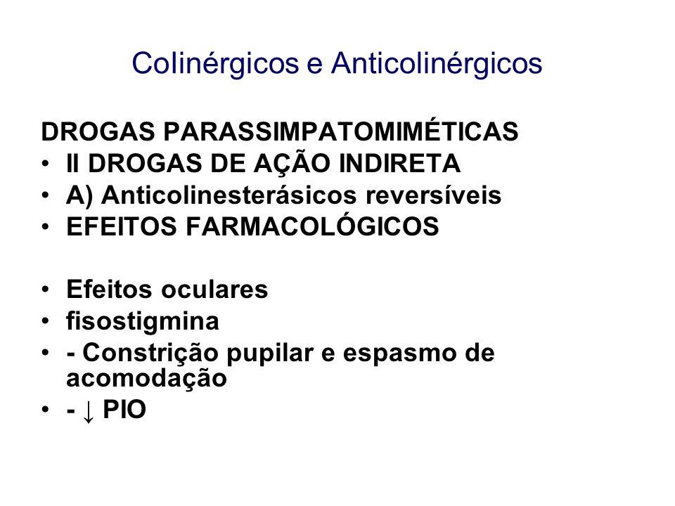 CoIinérgicos e Anticolinérgicos DROGAS PARASSIMPATOMIMÉTICAS II DROGAS DE AÇÃO INDIRETA A) Anticolinesterásicos reversíveis EFEITOS FARMACOLÓGICOS Efe