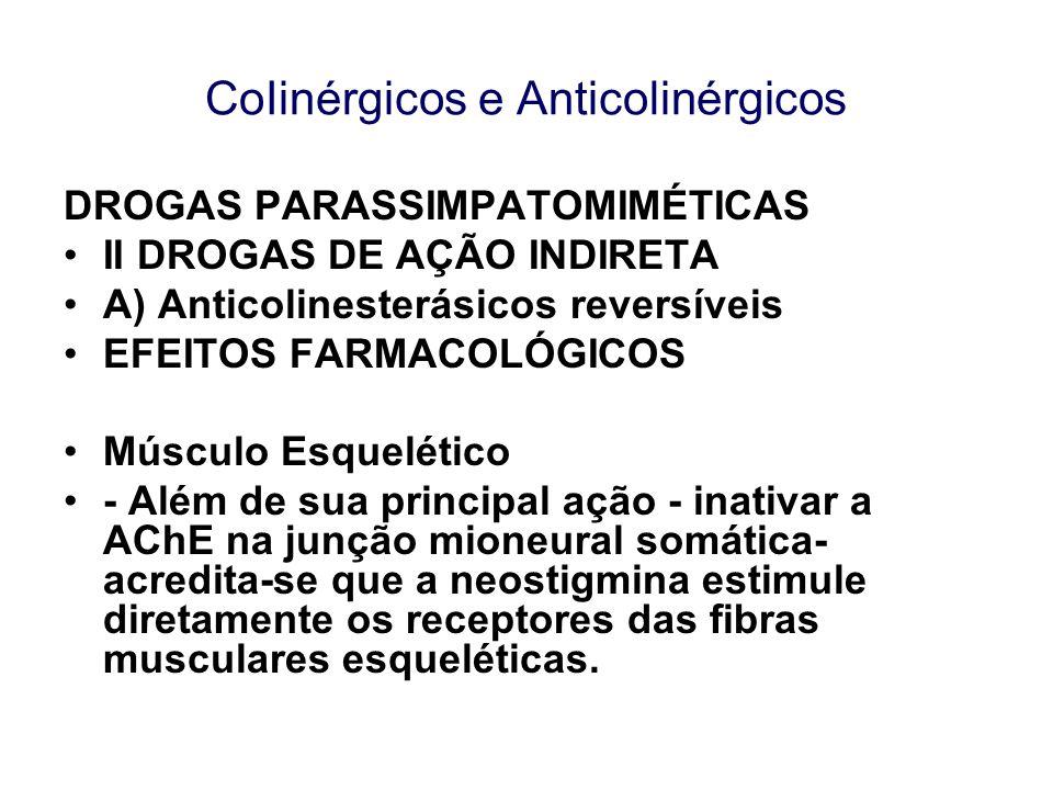 CoIinérgicos e Anticolinérgicos DROGAS PARASSIMPATOMIMÉTICAS II DROGAS DE AÇÃO INDIRETA A) Anticolinesterásicos reversíveis EFEITOS FARMACOLÓGICOS Mús