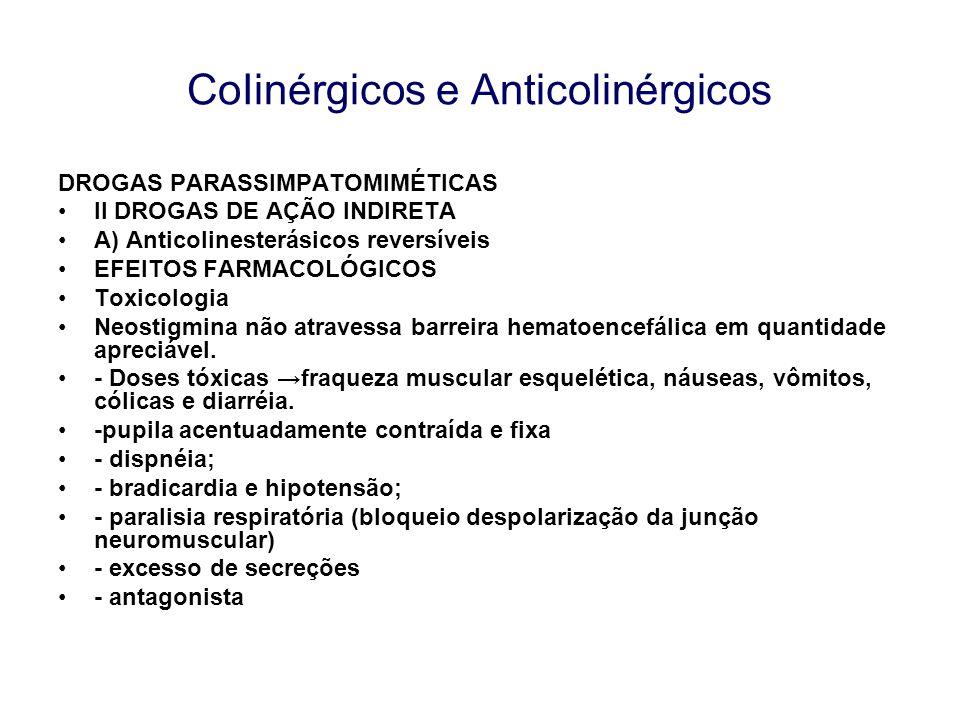 CoIinérgicos e Anticolinérgicos DROGAS PARASSIMPATOMIMÉTICAS II DROGAS DE AÇÃO INDIRETA A) Anticolinesterásicos reversíveis EFEITOS FARMACOLÓGICOS Tox