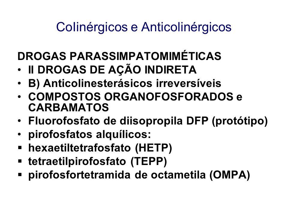 CoIinérgicos e Anticolinérgicos DROGAS PARASSIMPATOMIMÉTICAS II DROGAS DE AÇÃO INDIRETA B) Anticolinesterásicos irreversíveis COMPOSTOS ORGANOFOSFORAD