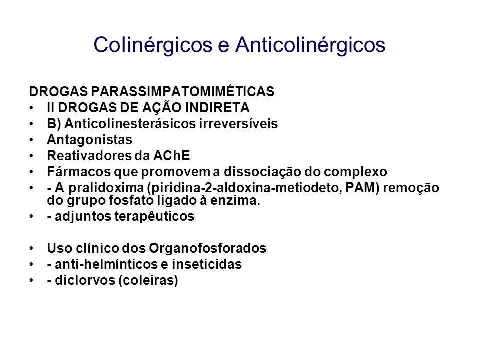 CoIinérgicos e Anticolinérgicos DROGAS PARASSIMPATOMIMÉTICAS II DROGAS DE AÇÃO INDIRETA B) Anticolinesterásicos irreversíveis Antagonistas Reativadore