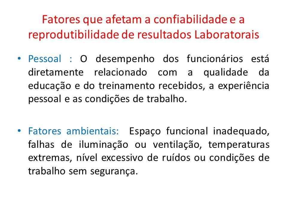 Fatores que afetam a confiabilidade e a reprodutibilidade de resultados Laboratorais Pessoal : O desempenho dos funcionários está diretamente relacion