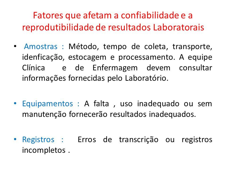 Fatores que afetam a confiabilidade e a reprodutibilidade de resultados Laboratorais Amostras : Método, tempo de coleta, transporte, idenficação, esto