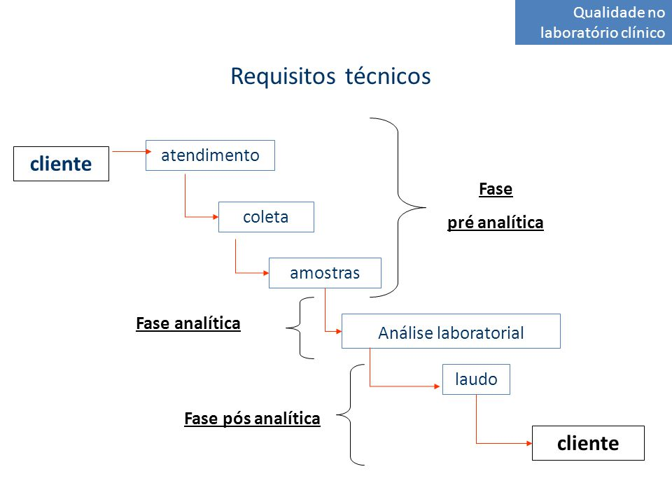 Requisitos técnicos Qualidade no laboratório clínico atendimento coleta amostras Análise laboratorial laudo cliente Fase pré analítica Fase analítica