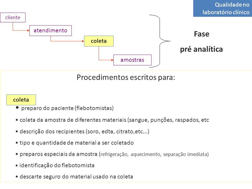 Qualidade no laboratório clínico atendimento coleta amostras cliente Fase pré analítica Procedimentos escritos para: preparo do paciente (flebotomista